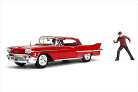 ミニカー 1/24 JadaTOYS◎エルム街の悪夢 1958 キャデラック フレディのフィギュア付き♪Marvel マーベル【予約商品】