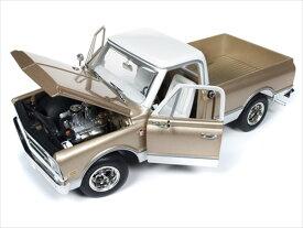 ミニカー 1/18 AUTOWORLD 1968 シボレー C10 ピックアップトラック 金/白色 アメ車 【予約商品】