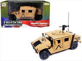 ミニカー 1/18 AUTOWORLD☆ハマー HMMWV (Humvee) (Desert Tan)仕様 マシンガン付!【予約商品】