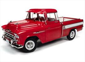 ミニカー 1/18 AUTOWORLD☆1957 シェビー カメオ ステップサイドピックアップトラック 赤色 1957 Chevrolet Cameo  【予約商品】