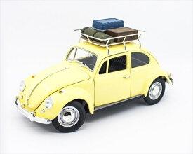 ミニカー 1/18 LuckyTOYS☆1967 VW ワーゲン ビートル 黄色 「ルーフキャリア、スーツケース付」 【予約商品】ワーゲンバス ミニカー