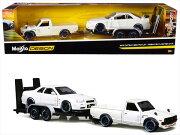 ミニカー1/24maisto1973ダットサントラック白色+スカイラインGTR白Datsun620Pickup予約商品
