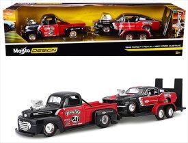 ミニカー 1/24 maisto☆1967 フォード・マスタングGT+ 1967 フォード ピックアップトラック 牽引トレーラー付き♪ 1948 Ford F-1 Pickup / 1967 Ford Mustang【予約商品】