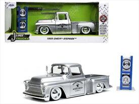 ミニカー 1/24 JadaTOYS☆1955 シェビー ピックアップトラック 銀色 ホワイトレタータイヤとタイヤスタンド付(交換工具付)1955 Chevrolet Stepside - Silver - Iron Works Body Shop 【予約商品】