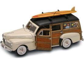 ミニカー 1948 フォード・ウッディワゴン サーフボード付♪ ホットロッド ベージュ色 アメリカングラフィティー デュースクーペ 1/18 Road Signature 【限定品/予約商品】