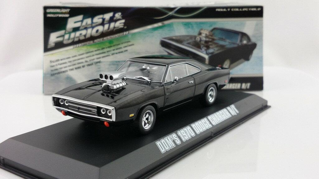 ワイルドスピードミニカー 1/43 GreenLight☆ワイルドスピード 1970 ダッジチャージャー 黒 【予約商品】