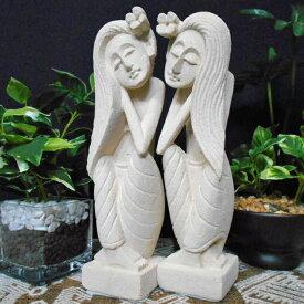 石像 バリニーズ ロングヘアー ペア 20cm / バリ雑貨 アジアン雑貨 エスニック スパ バリスパ