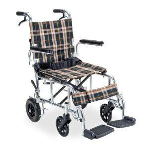介助型 PIRO N 茶チェック PR-501 マキテック PIRON ピロN[車椅子 介助 アルミ製 介護用品]※代金引換不可※北海道、沖縄、離島への配送不可