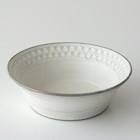 武曽健一/花虎窯 印花 深鉢(白)【越前焼 うつわ 和食器 作家】