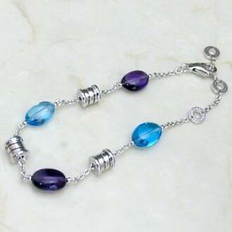 宝格丽蓝色黄玉宝石紫水晶手链 BR854688