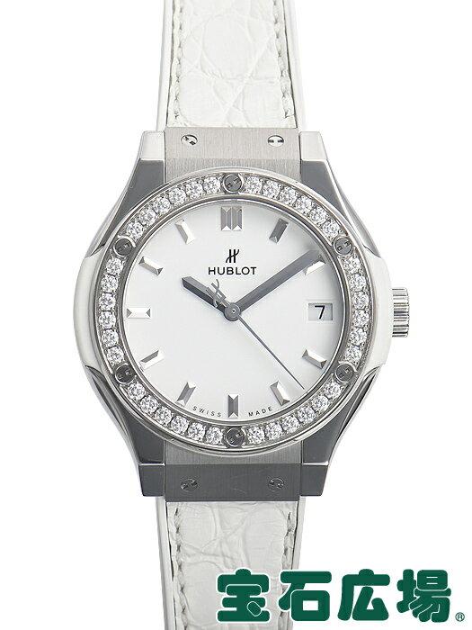 ウブロ クラシックフュージョン チタニウムホワイトダイヤモンド 581.NE.2010.LR.1204【中古】 レディース 腕時計 送料・代引手数料無料