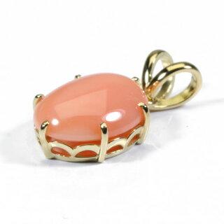 ピンクガ-ネ珊瑚ペンダントトップK18イエローゴールド無染色Jime&Della宝石サンゴ天然本さんごコーラル