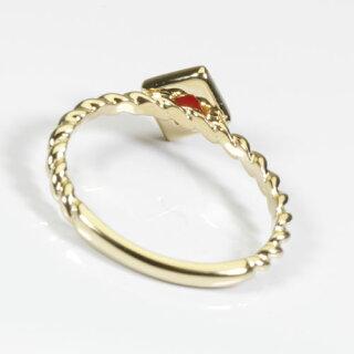【Jime&Della】K18、赤珊瑚スクエアーのリング