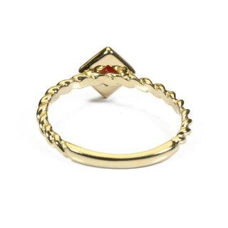血赤珊瑚リング指輪スクエアー無染色K18イエローゴールドJime&Della宝石サンゴ天然本さんごコーラル