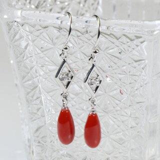 血赤珊瑚ピアスフックティアドロップ無染色K18ホワイトゴールドJime&Della宝石サンゴ天然本さんごコーラル