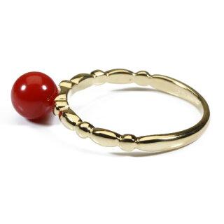 血赤珊瑚リング指輪K18YG無染色Jime&Della宝石サンゴ天然本さんごコーラル