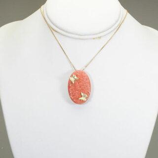 桃珊瑚花と蝶のブローチ、ペンダント