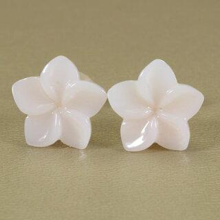 白珊瑚ピアスプルメリア花K18イエローゴールド無染色JUNSUI宝石サンゴ天然本さんごコーラル