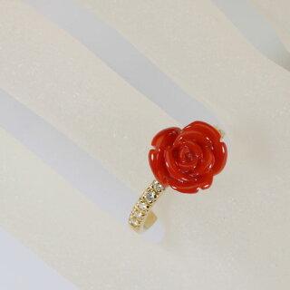 血赤珊瑚、薔薇の花リング