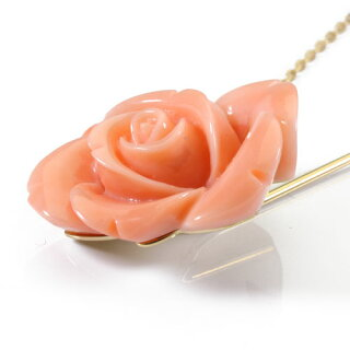 桃珊瑚バラの花ピンブローチ