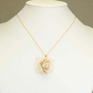 白珊瑚ペンダント薔薇花K18無染色JUNSUI宝石サンゴ天然本さんごコーラル