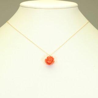 桃珊瑚薔薇バラペンダント一粒K18YG無染色JUNSUI天然sango本さんごコーラル宝石サンゴ専門店