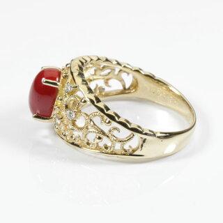 血赤珊瑚リング指輪K18YGイエローゴールド無染色SANSUI宝石サンゴ天然本さんごコーラル