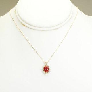 【誕生石3月】【送料無料】【SANSUI】K18YG赤珊瑚(サンゴ・コーラル)ネックレス・ペンダント