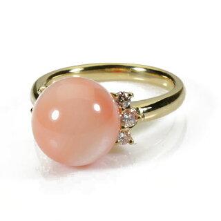 ガーネ珊瑚ピンクサンゴリング指輪レディースK18イエローゴールド無染色SANSUI宝石サンゴ天然本さんごコーラル