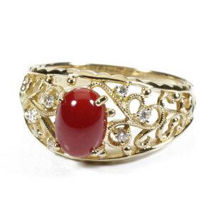 血赤珊瑚 指輪 リング K18YG イエローゴールド 無染色 SANSUI レディース 女性 ファッション アクセサリー ジュエリー 還暦祝い 珊瑚婚式 3月誕生石 ラッピング無料 送料無料 高知 土佐