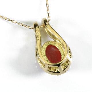 血赤珊瑚ネックレスペンダント馬蹄無染色K18YGSANSUI宝石サンゴ天然本さんごコーラル