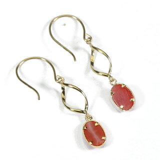 血赤珊瑚ピアスフックレディースK18イエローゴールド無染色SANSUI宝石サンゴ天然本さんごコーラル