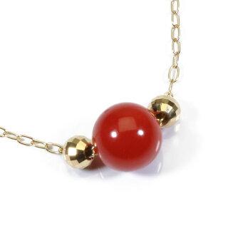 【SANSUI】K18YG、血赤珊瑚丸玉ネックレス