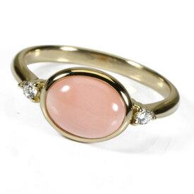 桃珊瑚 本ボケ リング 指輪 K18 イエローゴールド 無染色 SANSUI宝石サンゴ 天然 本さんご コーラル