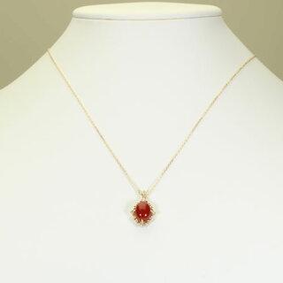 血赤珊瑚ネックレスペンダント無染色K18イエローゴールドSANSUI宝石サンゴ天然本さんごコーラル