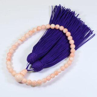 ミッド珊瑚ピンク数珠念珠略式片手無染色SANSUI宝石サンゴ天然本さんごコーラル