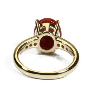 血赤珊瑚リング指輪無染色K18イエローゴールドSANSUI宝石サンゴ天然本さんごコーラル