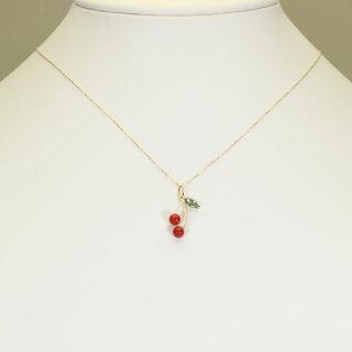 地中海紅珊瑚ネックレスペンダントさくらんぼ無染色K18YGSANSUI宝石サンゴ天然本さんごコーラル