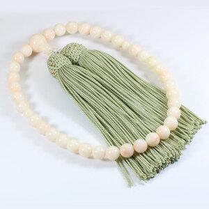 ミッド珊瑚 白 数珠 念珠 略式 片手 無染色 SANSUI 天然 sango 本さんご コーラル 宝石サンゴ 専門店