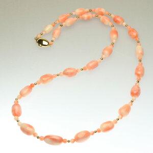 桃珊瑚 ネックレス スカッチ バロック K18イエローゴールド 無染色 SANSUI 天然 sango 本さんご コーラル 宝石サンゴ 専門店