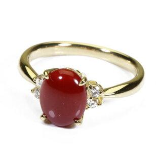 血赤珊瑚リング指輪K18イエローゴールド無染色SANSUI宝石サンゴ天然本さんごコーラル