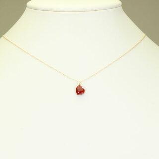 血赤珊瑚ネックレスペンダント一粒ハートK18YG無染色SANSUI天然sango本さんごコーラル宝石サンゴ専門店