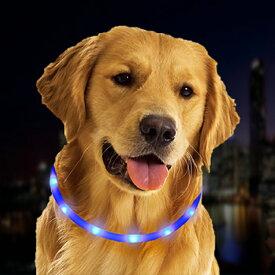 【メール便送料無料】LEDライト首輪 USB充電式(充電コード付き)♪ワンちゃんを守る♪フラッシュバンド 夜間 散歩に最適♪光る首輪 きらきらバンド 全犬種対応(直径14.5cm)♪三段階調整可能♪犬ネックレス LED バンド ドッグラン 事故防止 交通安全 発光ダイオード