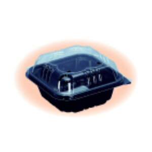 信和 ミニトマト用パック ミニパック クロバー200黒 115×115×62mm 4穴 嵌合 1ケース1200枚入り