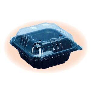 信和 ミニトマト用パック ミニパック クロバー230黒 窓付 130×130×65mm 4H 嵌合 1ケース800枚入り