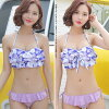 It is lavender 2017 with the road ribbon according to the child feeling of the separate mail short pants mail order beach Rakuten trend separate mizugi resort sunflower woman by a present in a review after arrival at lady's swimsuit figure cover swimsuit