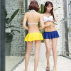I can serve the pad insertion possibility for the child mail order plain fabric Rakuten separate mizugi beach Kool celebrity resort figure cover navy yellow mom swimsuit woman of 2017 new work swimsuit Lady's flare swimsuit bikini three steps frill trend
