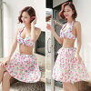 The short pants shorts skirt Halter feeling 2017 home delivery that there is the size that the child resort of four points of swimsuit Lady's swimsuit luxurious set tank top bikini swimsuit figure cover bikini race floral design /S/M/L/LL/3L trend mail o