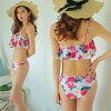High neck fashion mom whom the child cross design figure cover of the separate mail bandeau mail order beach Rakuten trend separate mizugi resort woman can serve a present in in a review after arrival at swimsuit Lady's bikini swimsuit flare swimsuit flo