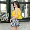 Child figure cover hips cover mom swimsuit blue white yellow floral design palm handle of 2018 new work swimsuit Lady's bikini three points set S/M/L race tops pantskirt tropical plain fabric beach resort woman that lifting bust sexy is pretty in the sum